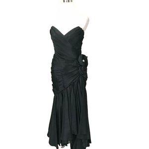 Vintage Lillie Ruben Black Strapless Evening Dress